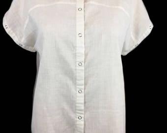 80's Shirt, Pascalle, Australia, Minimalist Top, Size 10, 80's Top, Cream, Natural