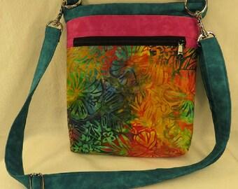 Crossbody Purse, Batik Purse, CrossBody Bag, Hip Bag, Quilted Purse, batik bag, Barbados Bag, boho bag, hippie bag, Batik Cross Body Bag