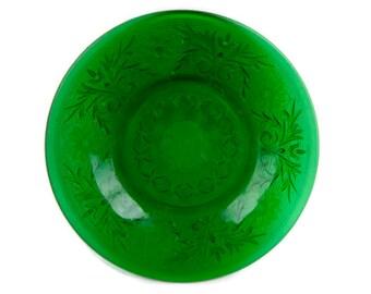 Vintage Anchor Hocking Forest Green Glass Saucer Sandwich Pattern Oatmeal Glass Custard Cup Saucer