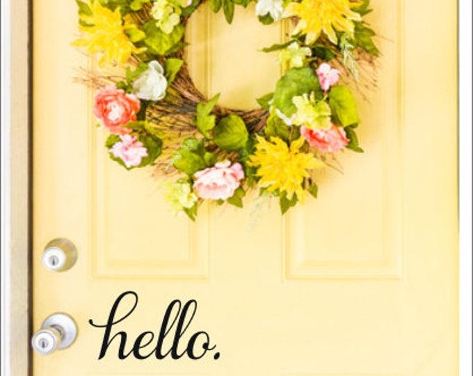 Hello Door Decal Door Vinyl Lettering For Door Curb Appeal Door Decor Hello Greeting Door Decal Outdoor Decal Porch Decor Vinyl Door Decal