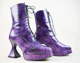 90s Gothic Witchy Purple Cobweb Coffin Heel Lace Up Boots UK 8 / US 10.5 / EU 41