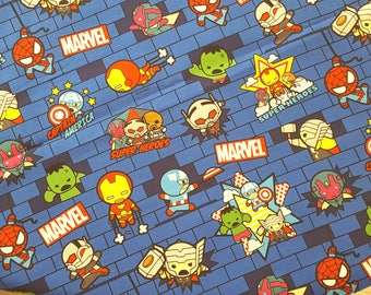 Marvel Avengers canvas fabric, printed in Japan, iron man, captain america, thor, hulk, spiderman, boys' fabric, super heroes fabric