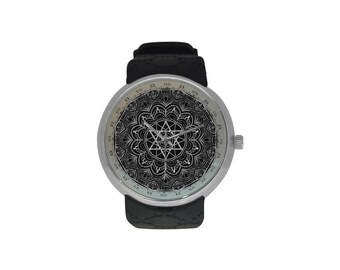 Black and silver Mandala Watches - resine strap watch- Men and women gift-birthday gift- Black collection-artistic watch-original gift