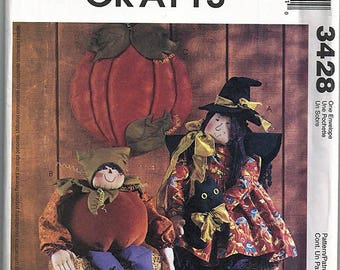 Witch Doll, Pumpkin Elf and Wall Hanging / Original McCall's Crafts Uncut Sewing Pattern 3428