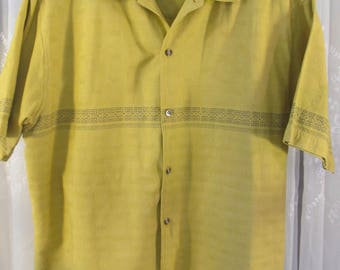 Vintage 90's men's Jazzman mustard colored cotton island styled short sleeve shirt L