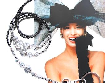 Lanyard, black silver crystals with silver, Cheap Shipping, beaded lanyard, badge holder, key chain, ID holder, fashion lanyard, handmade
