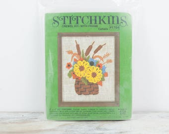 """Vintage Crewel embroidery """"Cattails"""" kit w/ flower loom and frame by Stitchkins"""