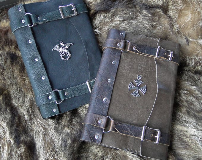 Celtic Leather Journals w/ Charm, Buckle Straps, Medieval Old World Book - Refillable, Hardback Journal Included - Choose Your Color & Charm