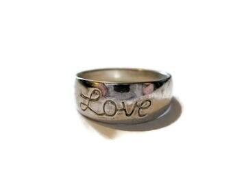 Vintage Sterling Love Ring Size 8