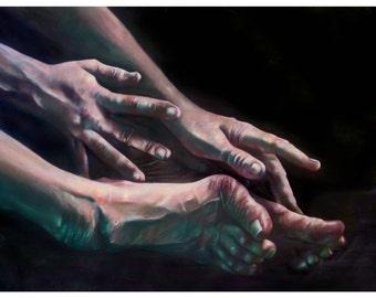 HYPERMOBILITY: MEG  (art print by Mandem) - Figure Painting - disability / disabled / EDS / cripplepunk art