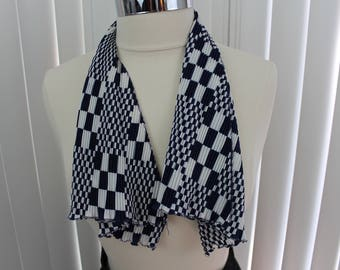 Vintage Scarf Hair Waffle Blue/White 1960s