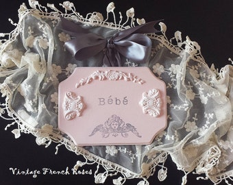 """Pink Angel French Wall Plaque """"Bebe"""" Sign French Appliques Cherub Handmade Baby Nursery Girls Room Shabby Chic Beach Cottage Style"""