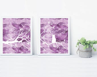 Digitial Download Purple Cat Tree 11x14 Print Set of 2