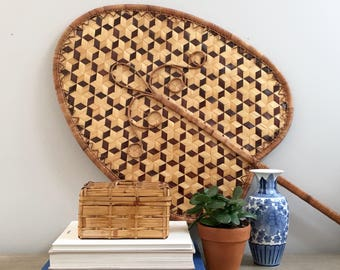 Large Vintage Palm Leaf Fan Wall Hanging Hand Woven Rattan Palm Frond Tropical Southern Coastal Style Living