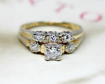 vintage diamond wedding set three stone 14k yellow gold bridal set 1930s engagement ring - Vintage Wedding Ring Sets