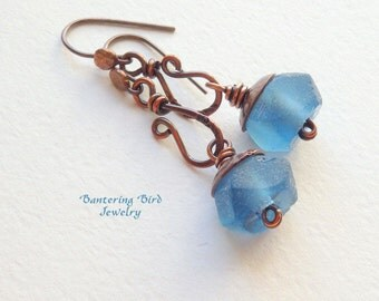 True Blue Recycled Glass Earrings, Unusual Oxidized Copper Dangle, Rustic Copper Jewelry