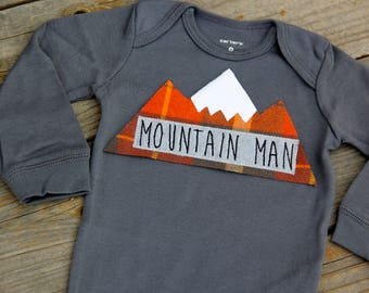 Mountain Man Baby Bodysuit, Mountain Bodysuit, Baby Mountain Shirt, Colorado Baby, Snowboarding Baby, Adventure Baby, Ski Baby