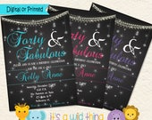 Forty and Fabulous, 40 and Fabulous, 50 and Fabulous, 40th Birthday 40th Birthday Party Invitations for Her 50th Birthday Invitation for her