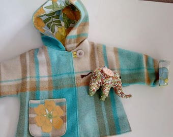 aqua turquoise childs  wool blanket coat in size 3