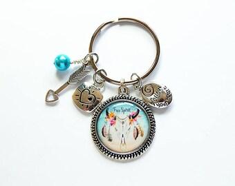 Free Spirit Keychain, keyring, Boho, stocking stuffer, gift for her, Blue, Free Spirit, Keychain for women, gift under 20, arrow (8001)