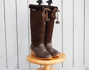 Brown leather Boots,1970s leather Boots,Brown Riding Boots,elegant Boots,Pull on leather Boots, vintage Booties,US 8 - EU 38,5 - UK 5.5 Boot
