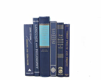 NAVY BLUE Decorative Books, Old Book set, Wedding Decor Centerpiece, Home Design, Antique Book Collection, Book Decor,  Interior Design