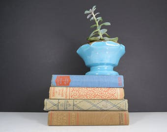 Aqua Flower Pot // Vintage Mid Century Modern Pioneer Brand Bright Turquoise Blue Pottery Planter with Gold Scalloped Trim Geometric Mod