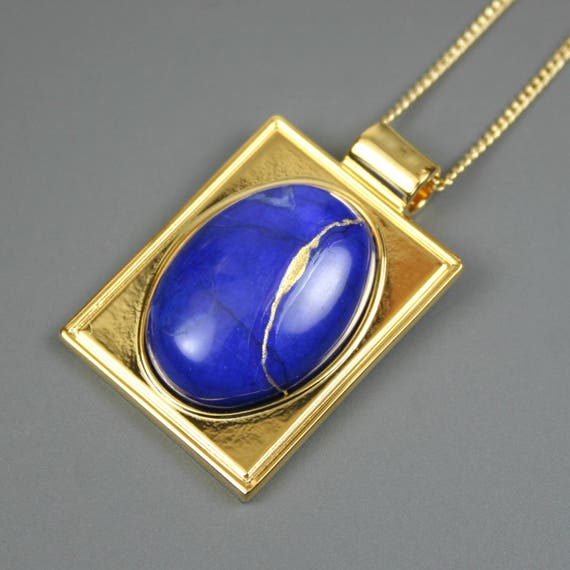 Kintsugi (kintsukuroi) lapis howlite stone cabochon with gold repair in a rectangular gold plated setting on gold chain - OOAK