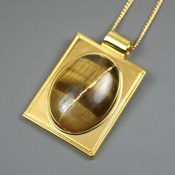 Kintsugi (kintsukuroi) tiger eye stone cabochon with gold repair in a rectangular gold plated setting on gold chain - OOAK