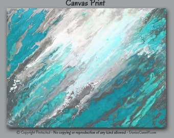 Abstract painting canvas print, Teal blue gray, Large wall art, Turquoise home decor, Office painting, Aqua, Master Bedroom