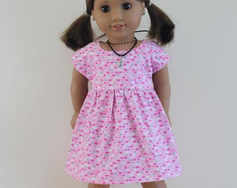 """Pink Dot Vintage Style Sleeved Dress - Dolls Clothes to fit both 20"""" Australian Girls dolls & 18"""" American Girl type dolls"""
