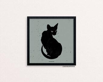 Bats Cats Bones: Black Cat Print