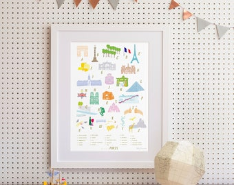 A-Z of Paris Art Print