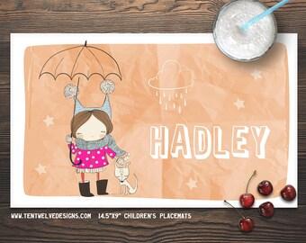 SWEET GIRL Personalized Placemat for Kids - Children's Placemat, Personalized Kid's Gift, Fast Shipping - dark hair, dog, rain, cute girl