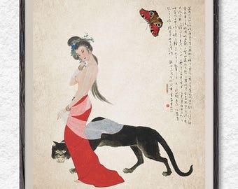 Naked woman and black panther, Japanese art print, Japanese wall art