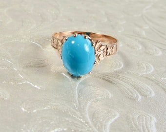 Turquoise Ring, Victorian Turquoise Ring, Antique Ring, December Birthstone, Birthstone Ring, Yellow Gold Turquoise Ring, Turquoise