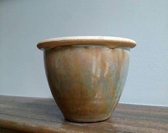 Vintage Glazed Clay Pottery Planter
