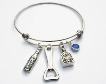 Personalized Bartender Bracelet, Expandable Bangle Bracelet, Stainless Steel Bracelet, Beer Jewelry, Alcohol Gift, Bar, Bottle Opener, Booze