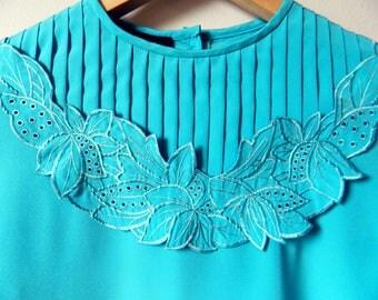 Pleated Front Vintage Floral Cut Out Blouse / Cerulean Blue Floral Top / Pleated Floral Vintage Shirt