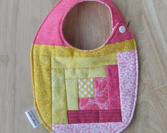 Quilted Patchwork Bib for baby girl, Pink and Yellow quilted bib for New Baby girl gift in Summer Colors Baby bibs Handmade Baby Shower Gift