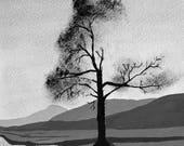 "Handmade art card ""Winter Tree"""