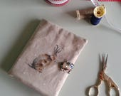 Hare needlecase with internal pockets - rabbit print pin and needlebook for rabbit lover sewing gift