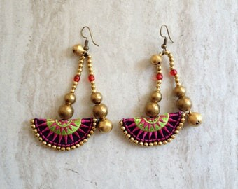 Tribal Hmong Earrings Brass Beaded Earrings Hmong Textile Earrings Dangle Earings Drop Earrings Handcrafted Embroidered Colorful