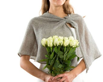 Bespoke Bridal Wedding Formal  Cape  Half Sleeves Silver Grey Bridal Jacket  Plus Size Bridal Shrug.Mother of the Groom Shrug.TIE THE KNOT