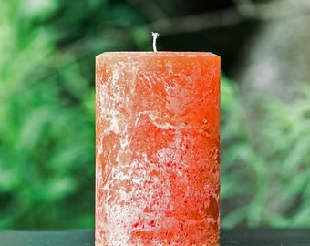 "Burnt Orange Rustic Large 4"" Wide Pillar Candle - Choose 4"", 6"" or 9"" Tall"