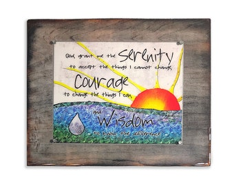 Serenity Prayer. Inspirational mixed media Rustic Wood Framed Resin Prints. Wooden Sign. Quotes on Wood. Wall decor. 5th Anniversary Gift.