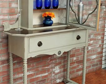 Antique Server With China Cabinet, Buffet Table, Vintage Sideboard, Painted  Furniture, Chalk