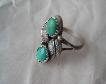 Turquoise Feather Sterling Ring Vintage Two Stone 925 Silver Size 6 Native American