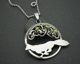 Fox necklace- Fox pendant - Pendant with a fox - Running fox - Silver pendant - Silver necklace - Wire wrapped pendant