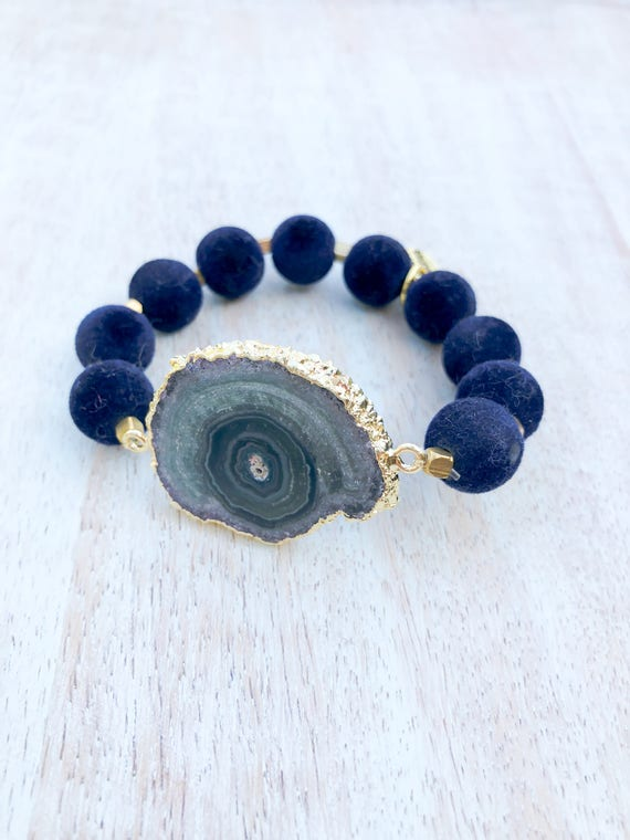 Stalactite snail shaped navy blue amethyst with soft felt dark velvet navy blue beads
